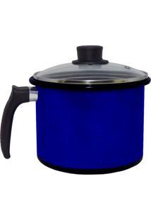 Caneco Azul Liso De Agatha Com Tampa Vidro 16 Cm - Kanui