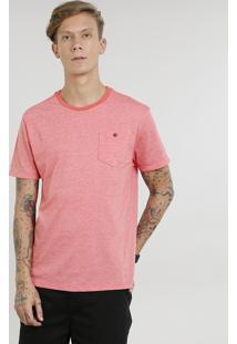 Camiseta Masculina Com Bolso Manga Curta Gola Careca Coral
