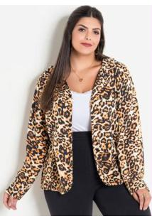 Blazer Animal Print Onça Plus Size Marguerite