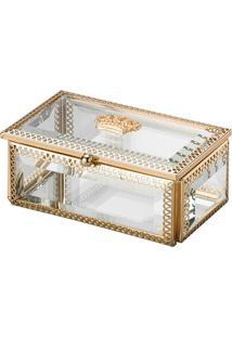 Porta Joias Coroa- Incolor & Dourado- 5,5X12,5X7,5Cmlyor