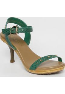 5396d00acc ... Sandália Tradicional Em Couro Com Rebites- Verde Escuro Carmen Steffens