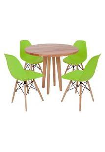 Conjunto Mesa De Jantar Em Madeira 90Cm Com Base Vértice + 4 Cadeiras Eiffel - Verde