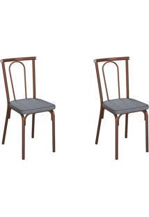 Conjunto Com 2 Cadeiras Albury Cinza E Cobre