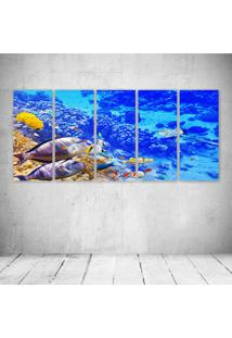 Quadro Decorativo - Underwater World Ocean Fish Coral Reef - Composto De 5 Quadros