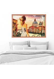 Quadro Love Decor Com Moldura Entardecer Em Veneza Rose Metalizado - Médio
