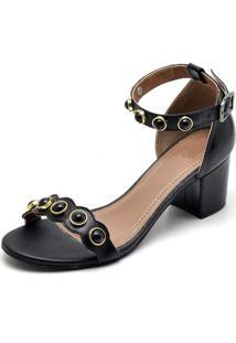 Sandalia Feminina Top Franca Shoes Salto Alto Grosso Pedras Preto