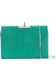 Gu_De Bolsa Transversal Luxy Com Efeito De Pele De Crocodilo - Verde