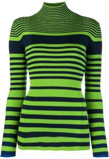 Victoria Victoria Beckham Camisa Polo Listrada Canelada - Verde
