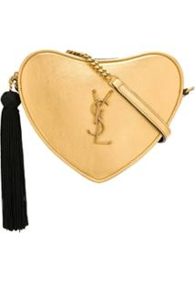 Saint Laurent Monogram Heart Metallic Cross Body Bag - Dourado
