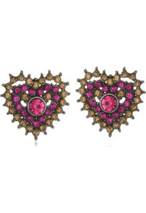Brinco Le Diamond Coração Cristais Rosa - Kanui