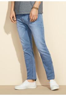 Calça Jeans Masculina Skinny Em Algodão Com Lavação Clara