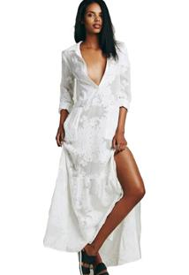 083420391e Vestido Branco Manga Longa feminino