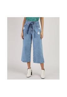 Calça Jeans Feminina Pantacourt Cintura Alta Com Faixa Para Amarrar Azul Claro