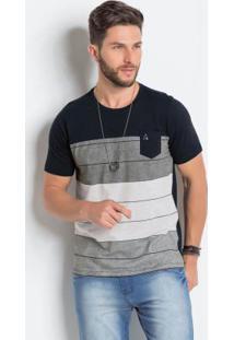 Camiseta Com Recorte Frontal Preta