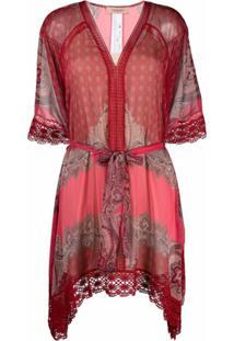 Twinset Vestido Com Cinto E Acabamento De Crochê - Vermelho