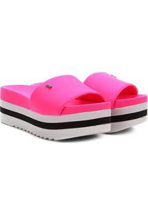 Sandália Plataforma Santa Lolla Neoprene Neon Feminina - Feminino-Pink