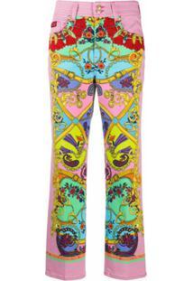 Versace Jeans Couture Calça Com Estampa Barroca - Rosa