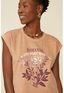 T-Shirt Amaro Romantic Capuccino - Marrom - Feminino - Dafiti