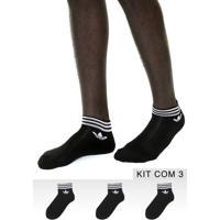 06e57169e0 Kit 3Pçs Meia Adidas Originals Soquete Trf Ankle Stripes Preta/Branca