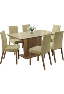 Conjunto De Mesa Com 6 Cadeiras Vivere Rustic E Saara