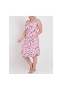 Vestido Plus Size Autentique Feminino Rosa