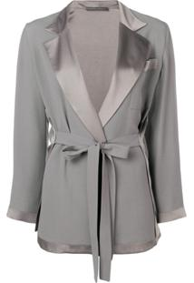Alberta Ferretti Belted Tailored Jacket - Cinza