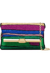 Bienen Davis Pm Striped Clutch Bag - Verde