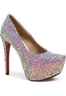 Scarpin Zariff Shoes Pump Glitter - Feminino-Azul