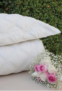 Colcha Com Porta Travesseiro Trapuntada Grega Pérola - Scavone