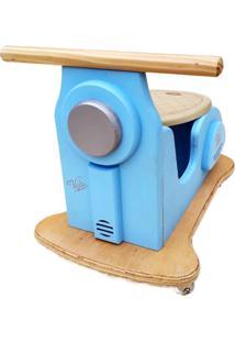 Carrinho Motoneta Kits E Gifts Madeira - Azul Calcinha Com Banco Velvet Suede - 100% Artesanal - Azul