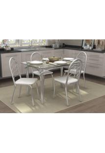 Conjunto Mesa Elba Com 4 Cadeiras Holanda Branco E Cromado Kappesber Crome