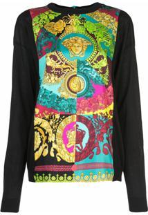 Versace Blusa Com Estampa Technicolor Baroque - Estampado