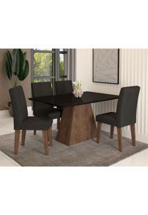 Conjunto De Mesa De Jantar Com 4 Cadeiras Estofadas Bianca Suede Preto
