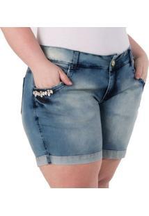 Shorts Confidencial Extra Plus Size Jeans Detalhe Em Pedraria Feminino - Feminino-Azul Claro
