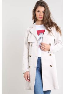 Casaco Trench Coat Feminino Com Botões E Fivela Bege Claro