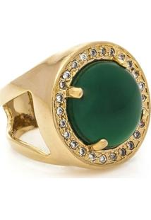 Anel Banhado A Ouro De Jade E Zirconias - Feminino-Verde
