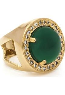 Anel Redondo Semijoia Banho De Ouro 18K Pedra Natural Jade E Cravacao De Zirconias - Feminino-Verde