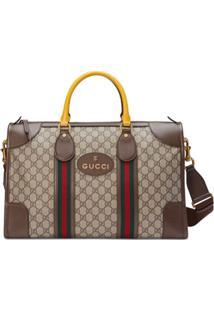 Gucci Maleta Soft Gg Supreme Com Fita Web - Marrom