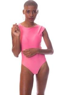 Body Moda Vicio Manga Curta Decote Costas Com Bojo Feminina - Feminino-Rosa