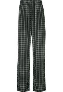 Ex Infinitas Off The Grid Checked Drawstring Trousers - Preto
