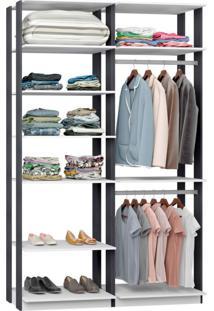 Guarda-Roupa Solteiro Modulado Clothes I Branco E Espresso