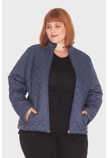 Jaqueta Losango Plus Size Mirasul Feminina - Feminino-Marinho