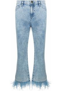 Twinset Calça Jeans Cropped Com Acabamento De Franjas - Azul