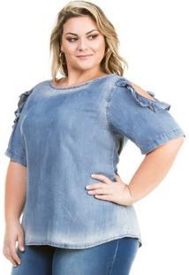 Camisa Confidencial Extra Plus Size Jeans Com Recortes E Babado Feminina - Feminino-Azul