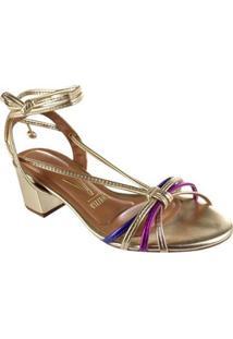 Sandália Salto Baixo Vizzano Metalizado Premium Feminina - Feminino-Dourado
