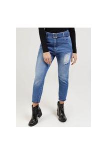 Calça Mom Jeans Feminina Azul