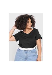 Camiseta Basicamente. Plus Size Lisa Preta