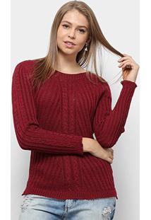 Suéter Fast Glam Tricot Desenhado Feminino - Feminino-Vinho