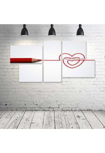 Quadro Decorativo - Love-Coração - Composto De 5 Quadros