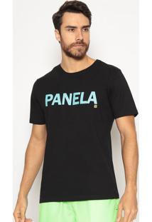 """Camiseta """"Panela""""- Preta & Azul Claro- T-Flowtflow"""